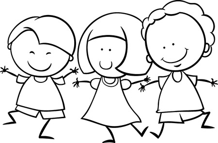 origin: Black and White Cartoon Illustration of Cute Happy Multicultural Children Boys and Girl Characters for Coloring Book