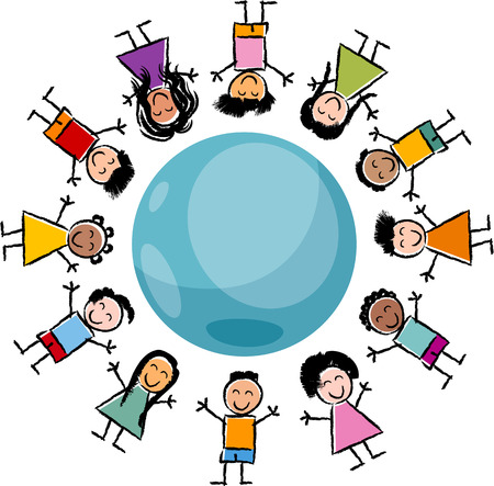 multicultural group: Cartoon Illustration of Happy Multicultural Children around the Globe