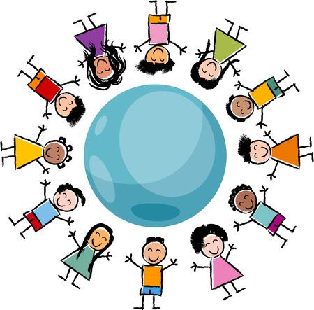 planeta tierra feliz: Ilustración de dibujos animados de feliz Multicultural Niños alrededor del globo