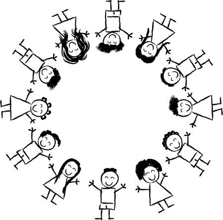 Historieta blanco y negro Ilustración de feliz Multicultural niños alrededor del globo para Coloring Book Vectores