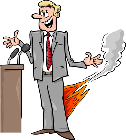 the statesman: Cartoon Humor Concept Illustration of Pants on Fire Saying or Proverb
