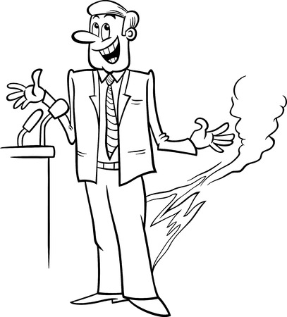 statesman: Black and White Cartoon Humor Concept Illustration of Pants on Fire Saying or Proverb for Coloring Book