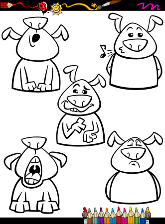 stuffy: Coloring Book or Page Cartoon Illustration of Black and White Funny Dogs Expressing Emotions Set for Children Illustration