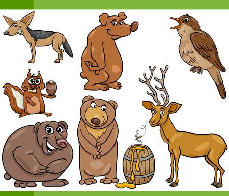 Cartoon Illustration of Funny Wild Animals Set Vector
