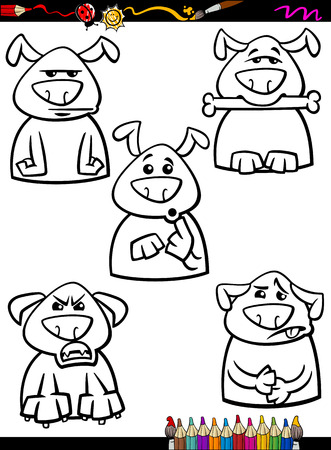 malcontent: Coloring Book or Page Cartoon Illustration of Black and White Funny Dogs Expressing Emotions Set for Children Illustration