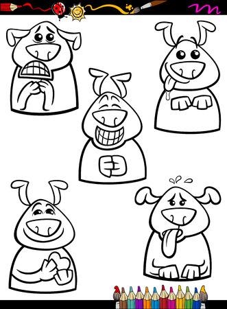 beg: Coloring Book or Page Cartoon Illustration of Black and White Funny Dogs Expressing Emotions Set for Children Illustration