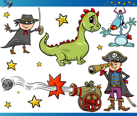 spyglass: Cartoon Illustrations Set of Fairytale or Fantasy Characters