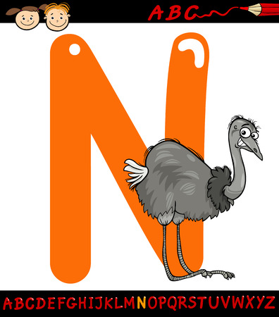 Cartoon Illustration of Capital Letter N from Alphabet with Nandu Bird Animal for Children Education Vector