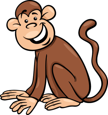 primate: Cartoon Illustration of Funny Monkey Primate Animal