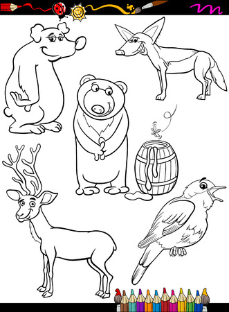 Coloring Book or Page Cartoon Illustration of Black and White Funny Animals Characters Set for Children Vector