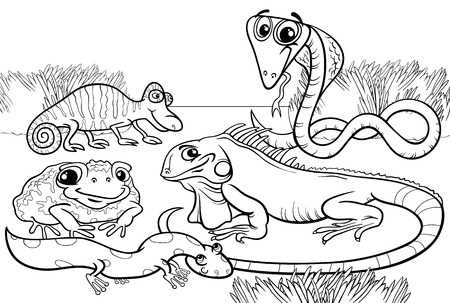 Black and White Cartoon Illustrations of Funny Reptiles and Amphibians Animals Characters Group for Coloring Book Vector