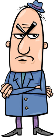unfriendly: Cartoon Illustration of Angry or Disgusted Funny Man Character