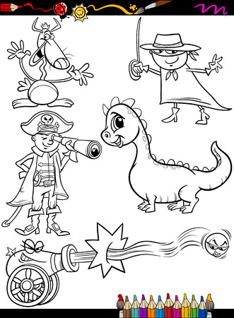 spyglass: Coloring Book or Page Cartoon Illustration of Black and White Funny Fantasy Characters Set for Children Illustration