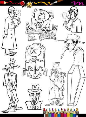 doorkeeper: Coloring Book or Page Cartoon Illustration of Black and White Retro People Characters Set for Children