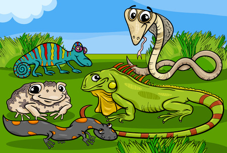 Cartoon Illustrations of Funny Reptiles and Amphibians Animals Characters Group Vector