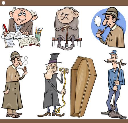doorkeeper: Cartoon Illustration Set of Retro People Characters