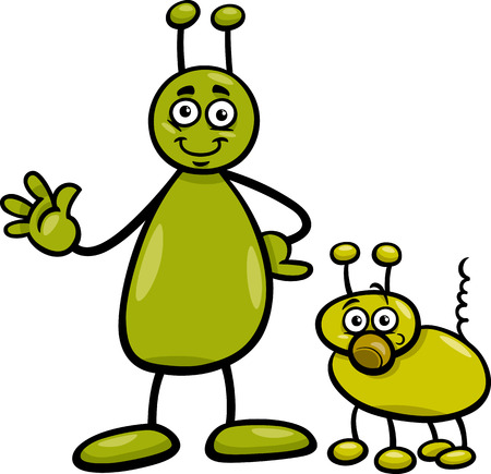 Cartoon Illustration of Funny Alien or Martian Comic Character with Dog Vector