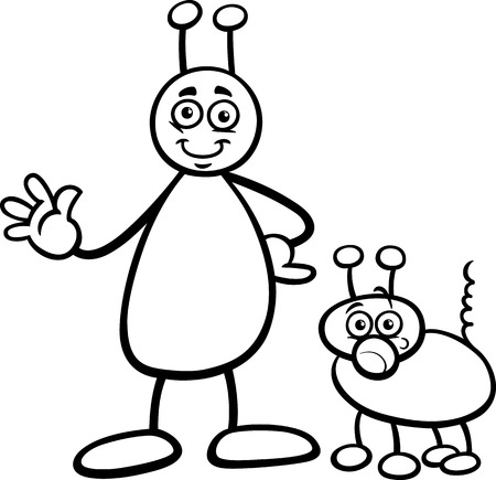 Black and White Cartoon Illustration of Funny Alien or Martian Comic Character with Dog for Coloring Book Vector