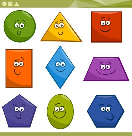 子供教育の基本的な幾何学的形状の面白いキャラクターの漫画イラスト  イラスト・ベクター素材