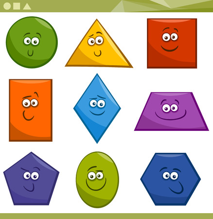 Cartoon Illustration of Basic Geometric Shapes Funny Characters for Children Education Иллюстрация