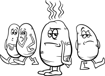 Black and White Cartoon Humor Concept Illustration of Hot Potato Saying or Proverb for Coloring Book Vector