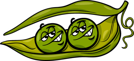 Cartoon Humor Concept Illustration of Like Two Peas in a Pod Saying or Proverb