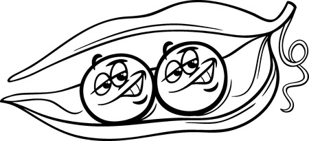 Black and White Cartoon Humor Concept Illustration of Like Two Peas in a Pod Saying or Proverb for Coloring Book