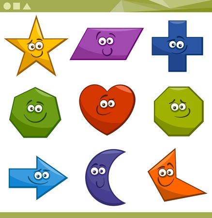 Cartoon Illustration of Basic Geometric Shapes Funny Characters for Children Education Vector