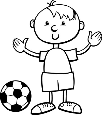 coloring book page: Black and White Cartoon Illustration of Cute Little Boy with Football Ball for Coloring Book Illustration