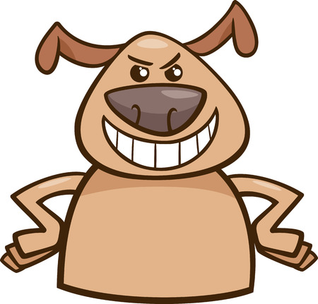 cartoon nose: Cartoon Illustration of Funny Dog Expressing Cruel or Malicious Mood or Emotion Illustration