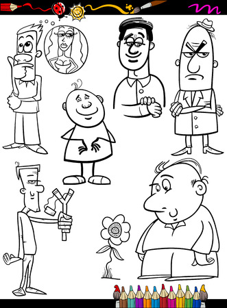 funny people: Coloring Book or Page Cartoon Illustration of Black and White Funny People Characters Set Illustration