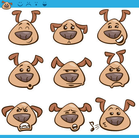 Cartoon Illustration of Funny Dogs Expressing Emotions or Emoticons Set Vector