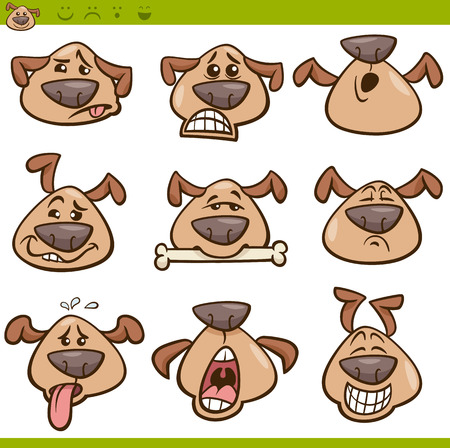 Cartoon Illustration of Funny Dogs Expressing Emotions or Emoticons Set