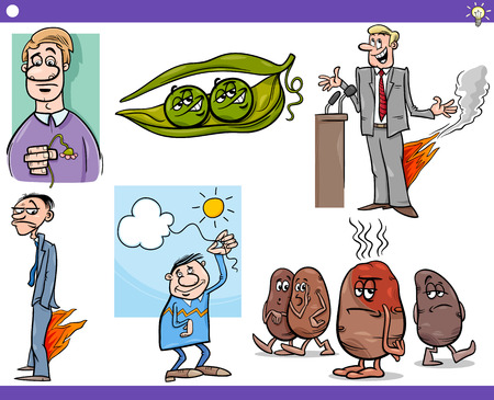 statesman: Illustration Set of Humorous Cartoon Concepts or Ideas and Metaphors with Funny Characters