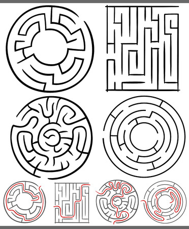 Set of Mazes or Labyrinths Graphic Diagrams for Children Education