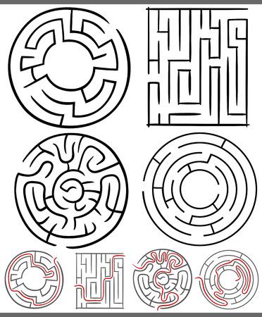 Set van Mazes of Labyrinths Grafische Diagrams voor Kinderen Onderwijs Stock Illustratie