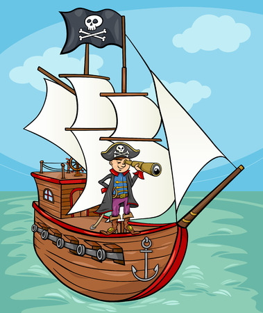 schooner: Cartoon illustrazione di Funny Pirate Captain con Spyglass e Nave con Jolly Roger bandiera
