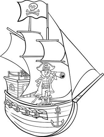 coloring book pages: Black and White Cartoon Illustration of Funny Pirate Captain with Spyglass and Ship with Jolly Roger Flag for Coloring Book Illustration