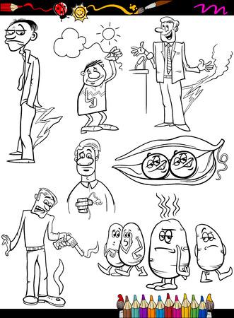 sayings: Coloring Book of Pagina Cartoon Illustratie van zwart-wit Humoristische Zeggen of Spreuken Set