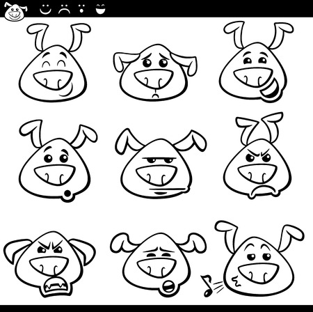 malcontent: Black and White Cartoon Illustration of Funny Dogs Expressing Emotions or Emoticons Set Coloring Book