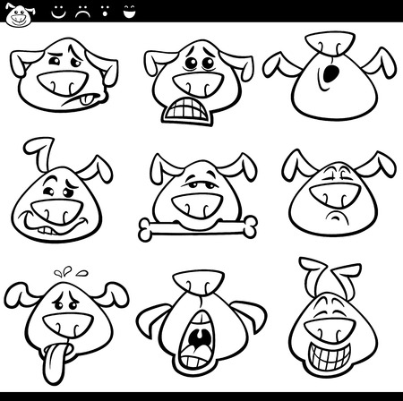 perro asustado: Historieta blanco y negro Ilustración de Funny Dogs expresar emociones o emoticonos Set Coloring Book Vectores