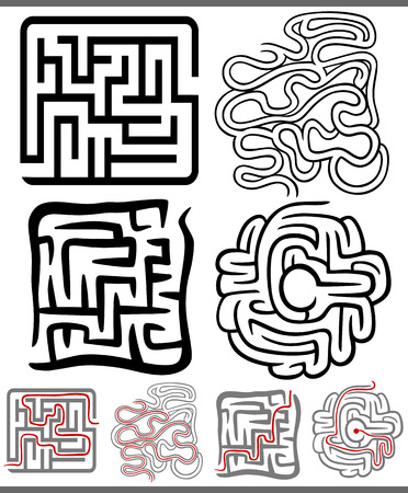 Set of Mazes or Labyrinths Graphic Diagrams for Children Education Vector