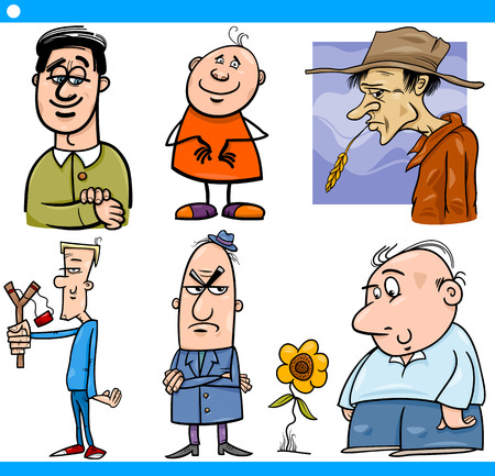 Cartoon Illustration Set of Comic Men Characters in Situations Illustration