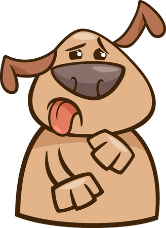 hideous: Cartoon Illustration of Funny Disgusted Dog Expressing Yuck