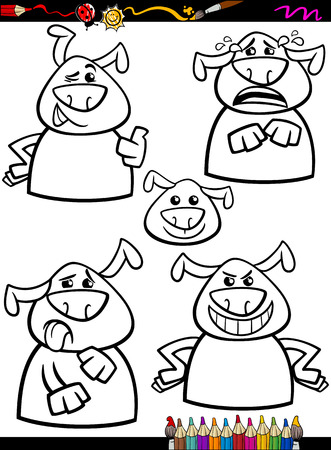 yuck: Coloring Book or Page Cartoon Illustration of Black and White Funny Dogs Expressing Emotions Set for Children Illustration