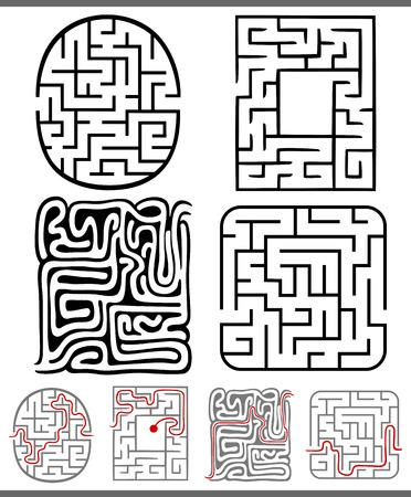 Set Mazes oder Labyrinthe Grafik Diagramme für Kinder Bildung Standard-Bild - 31967264