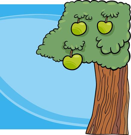 eden: Cartoon Illustration der Apfelbaum mit gr�nen �pfeln