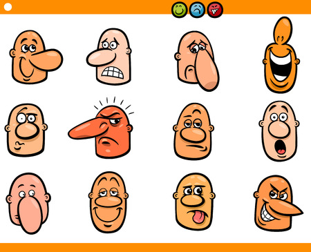 skeptic: Cartoon Illustration of Funny People Emotions or Expressions Emoticons Characters Set Illustration