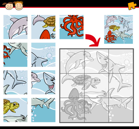 Cartoon Illustration of Education Jigsaw Puzzle Game for Preschool Children with Sea Life Animals or Fish Group