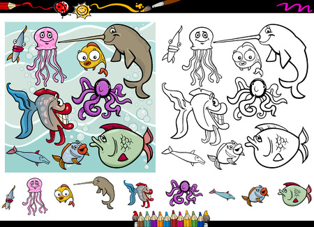 Cartoon Illustrations of Funny Sea Life Animals Characters Group for Coloring Book with Elements Set Vector